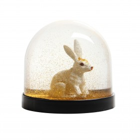 Water Globe - Rabbit Gold Glitter